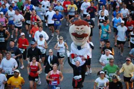 Nationals fan favorite Teddy Roosevelt among the starters Sunday morning at the Marine Corps Marathon in Washington, DC.  Photo courtesy of David Morse.