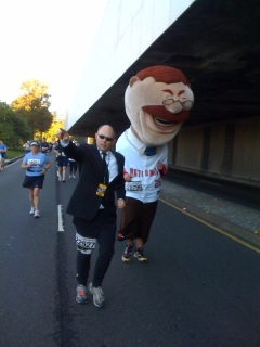 A secret service escort accompanies Teddy Roosevelt in Sunday's the Marine Corps Marathon