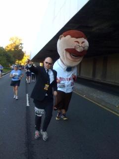 A secret service escort accompanies Teddy Roosevelt in Sunday's the Marine Corps Marathon