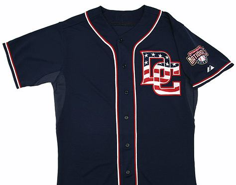 "New Nationals uniforms include this ""alternate blue"" uniform with red, white, and blue DC logo to be worn for a select few home games in 2009."