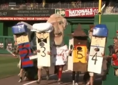Un-racing sausages mock the Milwaukee Brewers at Nationals Park