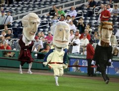 Teddy Roosevelt was scratched from the Washington Nationals presidents race with a pulled hamstring.