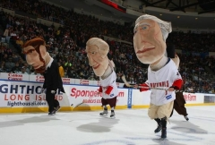 The Washington Nationals presidents race at a New York Islanders game at Nassau Coliseum