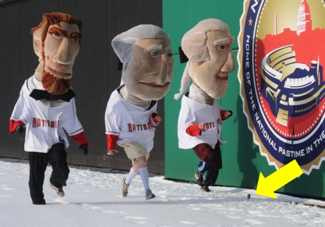 Nats racing presidents topple camera during auditions in the snow