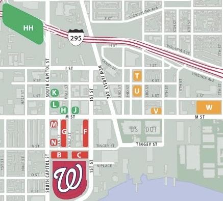 Washington Nationals - Nationals Park Stadium Parking Map