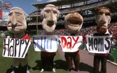 Washington Nationals Racing Presidents Mothers Day message - Nationals Park