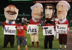 The Arizona Diamondbacks Legends are issued a challenge by the Washington Nationals racing presidents