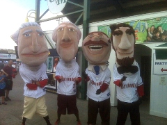 The Nationals Racing Presidents arrive at Centennial Park, home of the Vermont Lake Monsters