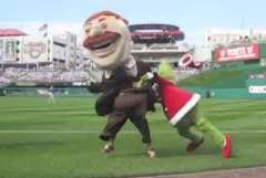 The Grinch prevents Teddy Roosevelt from winning the presidents race