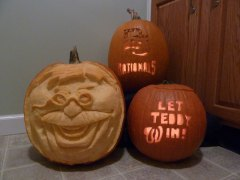 The Let Teddy Win pumpkin is a finalist in the Nationals pumpkin carving contest