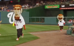 Abe Lincoln and Teddy Roosevelt square off in the Nationals presidents race