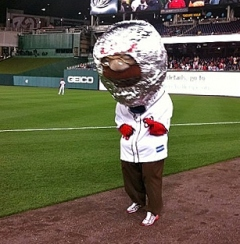 Nationals racing president Teddy Roosevelt in a cosmonaut helmet