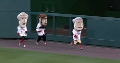 George Washington, Abe Lincoln, and Thomas Jefferson in the Washington Nationals Presidents Race