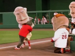 Washington Nationals Presidents Race: That Cat tackles George Washington as Teddy Roosevelt looks on