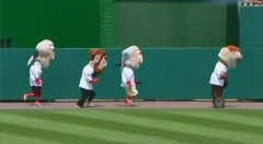 Teddy in the Washington Nationals Presidents Race aboard a Segway