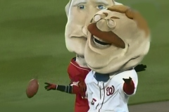Washington Nationals Racing Presidents play football