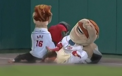 Washington Nationals Racing Presidents are attacked by That Cat