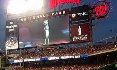 GEICO Gecko introducing the GEICO Presidents Race at Nationals Park