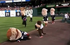 Harrisburg Senators racing monkey Steve tackles Teddy Roosevelt