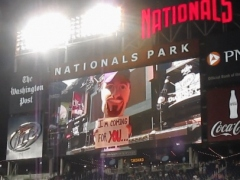 Racing Mark Grace on the Nationals Park scoreboard