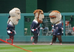 Teddy Roosevelt taunts Abe and Tom at Nationals Park