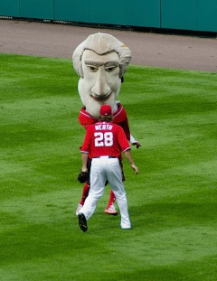 Jayson Werth blocks Thomas Jefferson in the presidents race - Photo by Chris Tatem