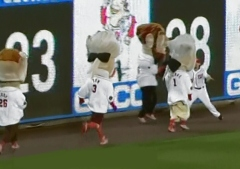 Washington Nationals Jayson Werth interferes with the Presidents Race