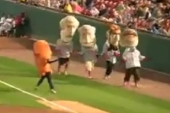 Nationals racing president Teddy Roosevelt is distracted by a Buffalo Bisons Chicken Wing