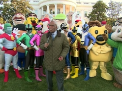 Washington Nationals racing presidents at the White House Easter Egg roll with Al Roker