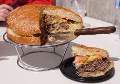 The Washington Nationals have introduced an 8 pound burger called the StrasBurger (8 pounds including toppings and fries)