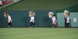 Washington Nationals racing presidents begin the presidents race at Nationals Park