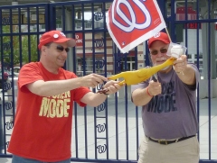 Rubber Chicken Man Hugh Kaufman and Let Teddy Win Sacrifice a chicken at Nationals Park