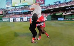 Nationals Teddy Roosevelt tackels the Baltimore Orioles Bird