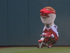 13th Inning Presidents Race Teddy Roosevelt Blindfolded on a motorcycle