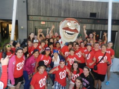 Nationals Park racing president Teddy Roosevelt with fans from Hillwood Middle School