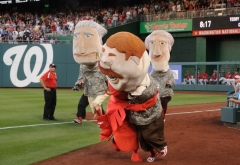 Nationals racing presidents in military uniforms for Nationals Lobster Day