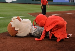 The Washington Nationals racing president Teddy Roosevelt and Luc the Lobster