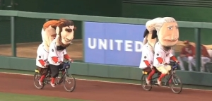 Nationals Presidents race on tandem bikes