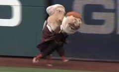 Washington Nationals Presidents Race Thomas Jefferson tackled Teddy Roosvelt