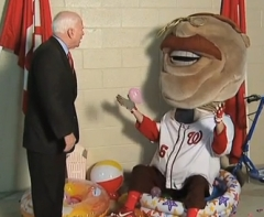 John McCain gives Teddy Roosevelt Pep Talk on the scoreboard