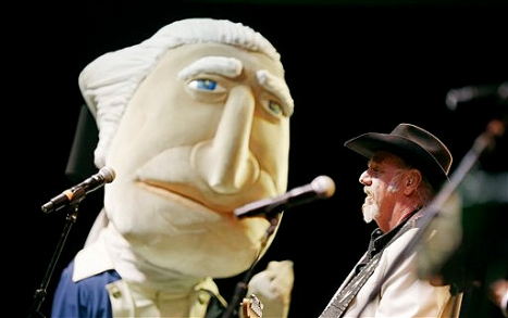 George Washington at the Black Tie and Boots Inaugural Ball with Ray Benson of Asleep at the Wheel