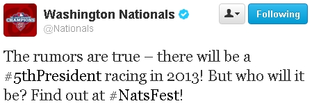 Nationals 5th racing president Twitter