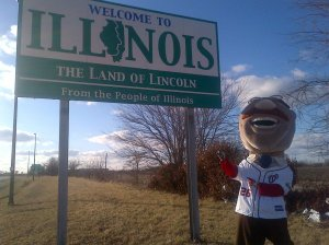 Racing president Teddy Roosevelt reaches Illinois