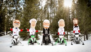 Nationals Racing Presidents on Snowmobiles