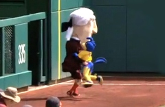 University of Delaware Mascot YoUDee tackles Nationals Park racing presidents