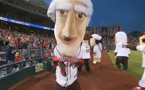 Thomas Jefferson Sits Nationals Presidents Race Shoes on fire