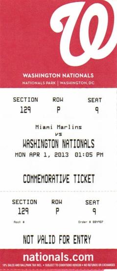 Washington Nationals Souvenir Commemorative Ticket Replacement $3.00