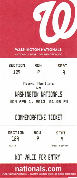 Washington Nationals Souvenir Commemorative Ticket Replacement $3.00