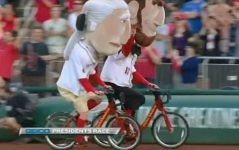 Capital bikeshare Nationals presidents race Abe celebrates