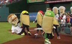 Pittsburgh Pierogie tackles Washington Nationals Teddy Roosevelt
